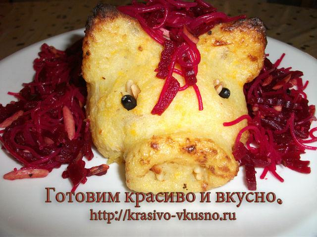 Картошка в духовке в виде поросенка.