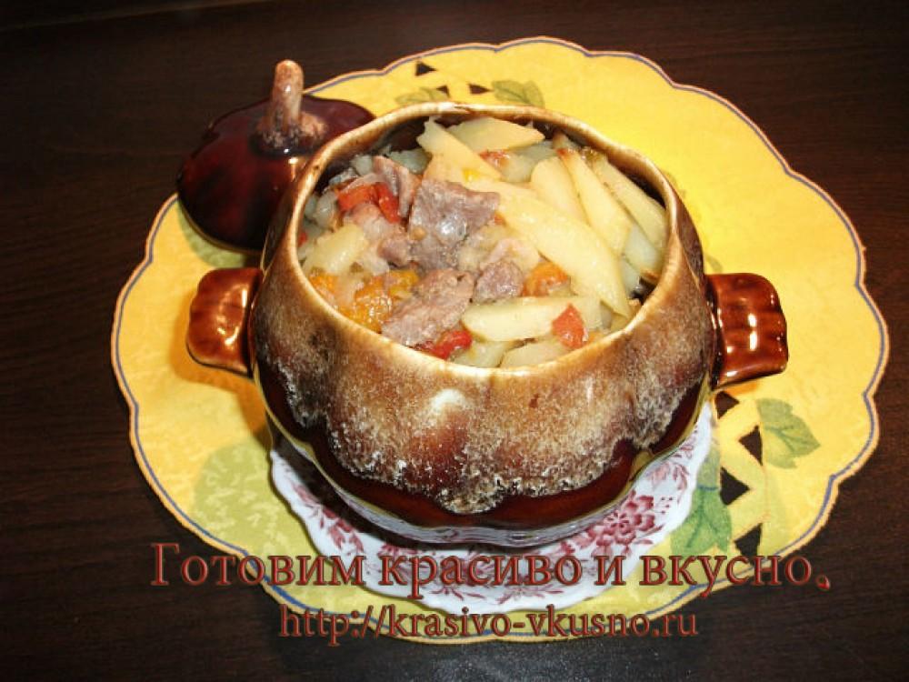 картошка в горшочках.