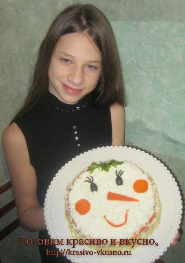 Салат снеговик.