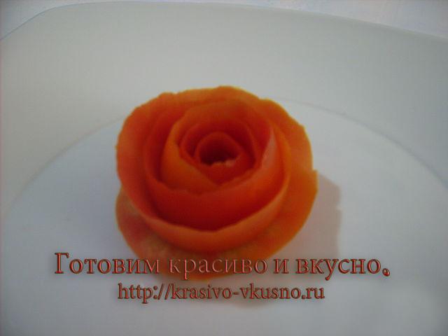 Роза из помидорки. карвинг