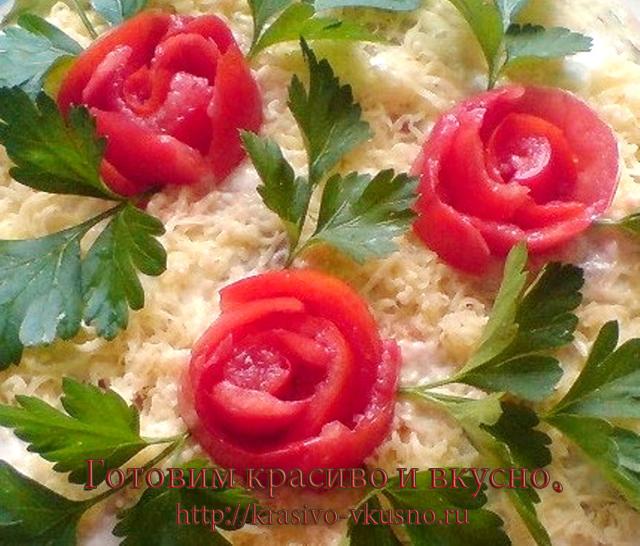 Кабачковый торт с помидорами.