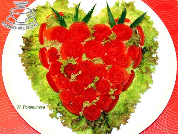 """Салат """"Сердце из роз"""""""