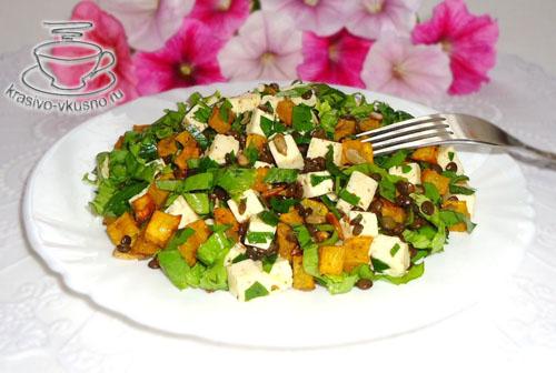 Салат из чечевицы,тыквы,брынзы и зелени