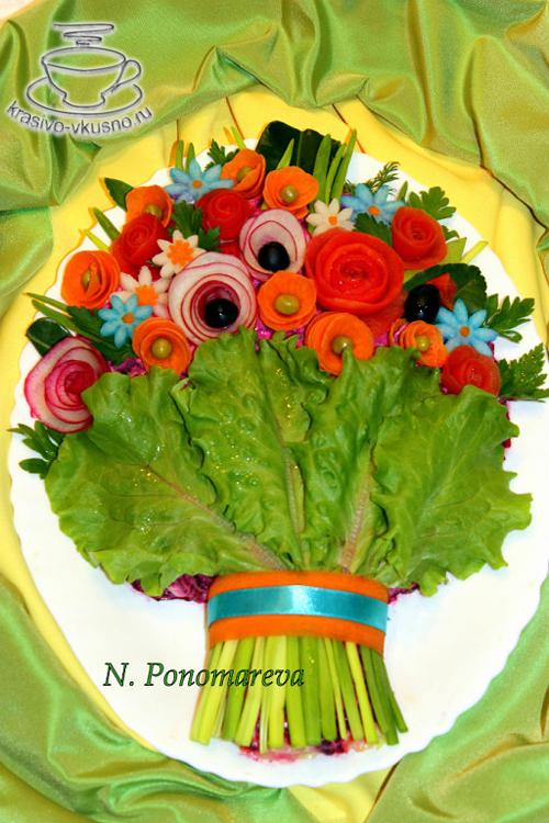 красивый салат в виде букета цветов