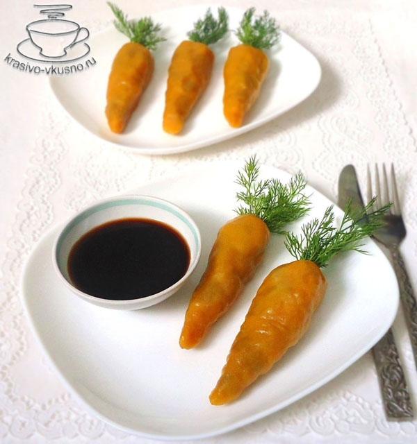 манты в форме «Морковки»