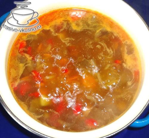 Постный овощной суп с грибами