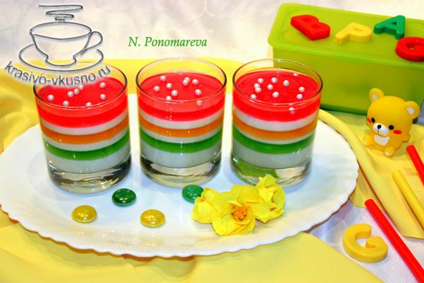 Десерт из фруктового желе и молока