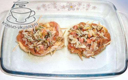 Куриные «тарелочки» с рисом и ветчиной