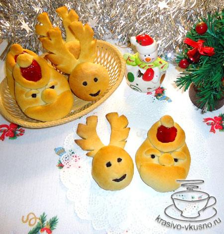 Красивые новогодние булочки