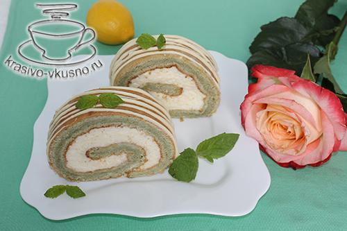 Красивое и вкусное мятное пирожное